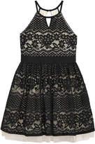 Sequin Hearts Floral-Lace Halter Dress, Big Girls