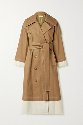 REJINA PYO Gladys Paneled Cotton-blend Canvas And Drill Trench Coat - Camel