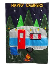 Evergreen Happy Campers Applique House Flag, 28 x 44 inches