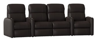 Latitude Run Home Theater Row Seating (Row of 4 Body Fabric: Smartsuede Sangria, Reclining Type: Manual