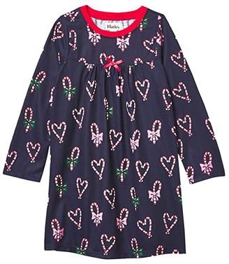 Hatley Candy Cane Hearts Nightdress (Toddler/Little Kids/Big Kids) (Blue) Girl's Pajama