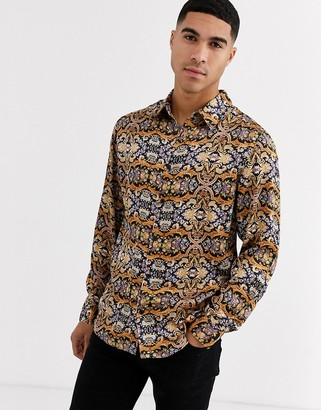 Aray dark satin print loose fit shirt-Brown