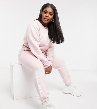 Ellesse Plus Cropped Jumper & Jogger Set In Pink