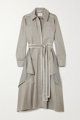 Stella McCartney Leilani Belted Vegetarian Leather-trimmed Wool-flannel Shirt Dress - Gray