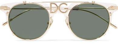 Dolce & Gabbana D-frame Acetate And Gold-tone Sunglasses