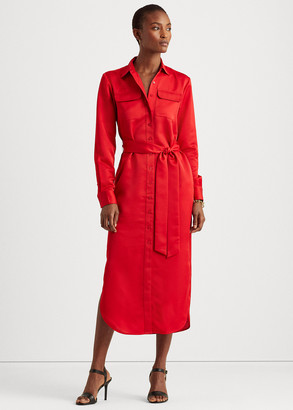 Ralph Lauren Sateen Button-Down Shirtdress