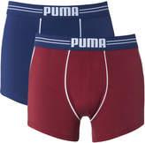 Puma Men's 2 Pack Athletic Blocking Boxers - Red/Blue