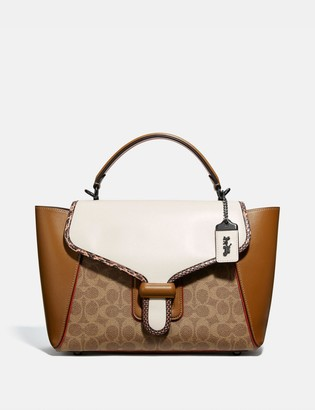 Coach Courier Carryall In Colorblock Signature Canvas With Snakeskin Detail