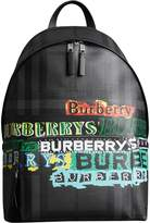 Burberry Logo Print London Check Backpack
