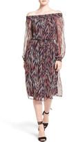 Ella Moss Ansel Print Silk Off-the-Shoulder Midi Dress