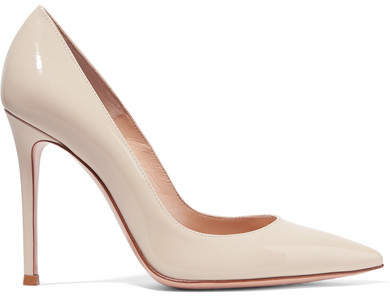 Gianvito Rossi 105 Patent-leather Pumps - Off-white