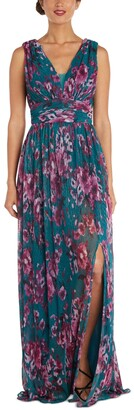 Nightway Floral-Print Pleated Gown