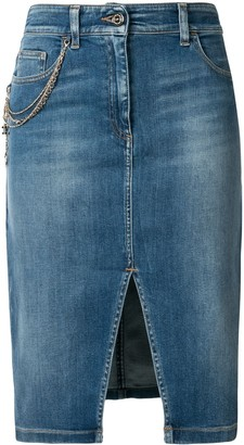 Elisabetta Franchi Front-Slit Denim Skirt