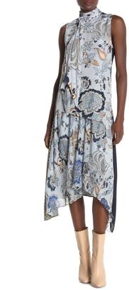 Tory Burch Margaret Silk Front Asymmetrical Midi Dress