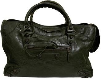 Balenciaga Weekender Green Leather Handbags