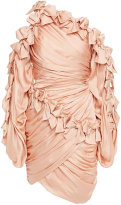 Zimmermann One-shoulder Ruffled Silk-satin Mini Dress