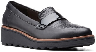Clarks Sharon Gracie Croc Embossed Loafer - Wide Width Available