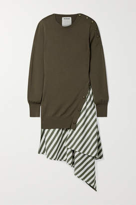 Monse Asymmetric Layered Wool And Striped Cotton-poplin Dress - Army green