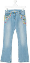 Ermanno Scervino embroidered flower jeans - kids - Cotton/Spandex/Elastane - 14 yrs