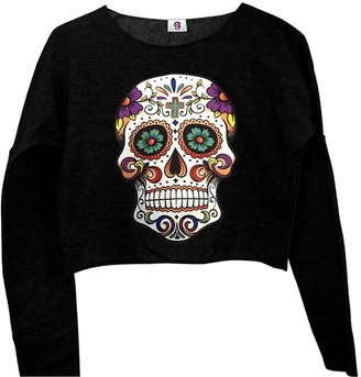 Graphic Impact Inspired Sugar Candy Skull Mexico Day of The Dead Gothic Skull Crop Top (One Size
