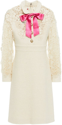 Gucci Broderie Anglaise-paneled Embroidered Guipure Lace And Tweed Dress