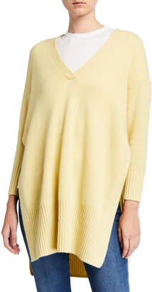 St. John Pure Luxe Cashmere V-Neck Sweater w/ High Side Slits