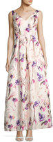JS Collections Floral-Print Jacquard Gown, White Pattern