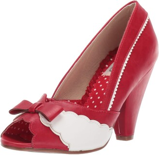 Bettie Page Women's 403-Margie Peep Toe Pump Red 8