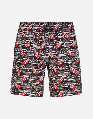 Dolce & Gabbana Medium Swimming Trunks With Sailboat Print