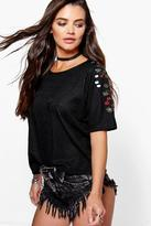 Boohoo Erin Embroidered Sleeve Boxy Shell Top