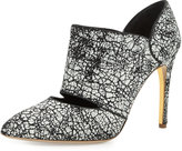 Rupert Sanderson Crackle Point-Toe Ankle Bootie, Black/Gray