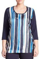 Marina Rinaldi, Plus Size Veletta Striped Silk-Front Tee