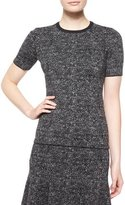 Michael Kors Short-Sleeve Jewel-Neck Tweed Top, Charcoal Melange
