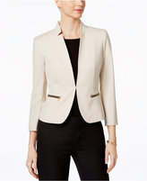 Nine West Stand-Collar Zip-Pocket Blazer