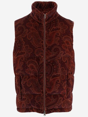 Etro Paisley Printed Ribbed Velvet Waistcoat