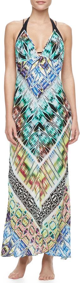 Milly Charlevoid Print Deep V-Neck Maxi Coverup Dress