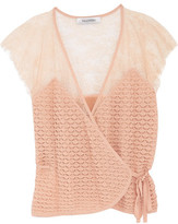 Valentino Paneled Stretch-Lace Wrap Top