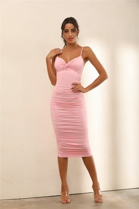 Miss Floral Twist Front Bust Ruched Bodycon Midi Dress In Pink