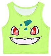 Orlesp Pokemon Go! Women Bustier Crop Top Skinny T-Shirt Sports Dance Tops Vest Tank