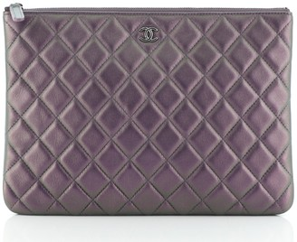 Chanel O Case Clutch Quilted Iridescent Calfskin Large