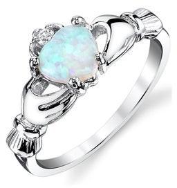 Oliveti Women's Sterling Silver 925 Irish Claddagh Friendship Love Ring Light Blue Simulated Opal Heart