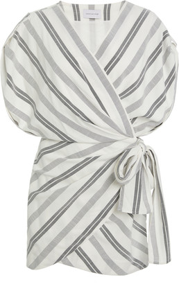 Significant Other Arcadia Striped Wrap-Effect Woven Mini Dress