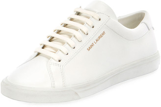 Saint Laurent Andy Leather Lace-Up Sneakers