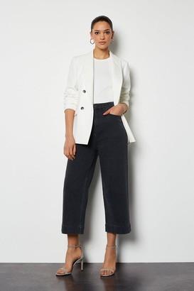 Karen Millen Wide-Leg Charcoal Crop Jeans