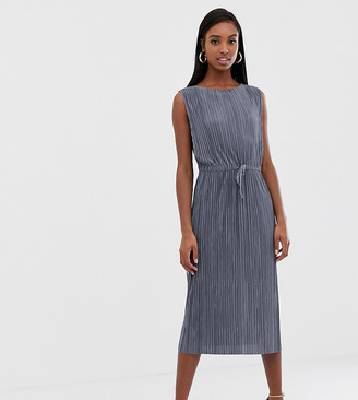Asos Tall DESIGN Tall midi plisse dress with drawstring waist-Grey