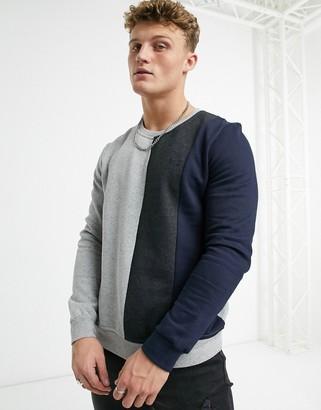 Burton Menswear colourblock sweat in grey marl