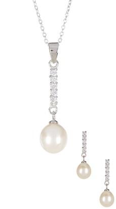Splendid Pearls Dangling CZ & 8-9mm Pearl Necklace & Earrings Set