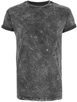 Topman Black Acid Wash Muscle Fit Roller T-Shirt