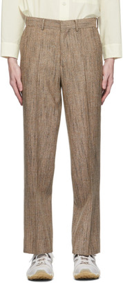 AURALEE Brown Wool Silk Tweed Trousers
