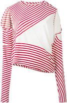 MM6 MAISON MARGIELA asymmetric striped sweater - women - Spandex/Elastane/Viscose - S